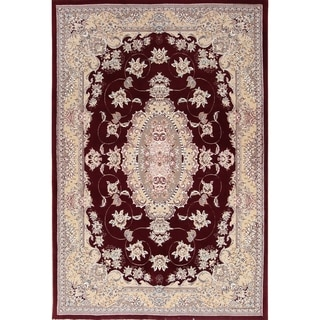 "Soft Plush Floral Isfahan Persian Area Rug Wool and Acrylic - 9'8"" x 6'6"""