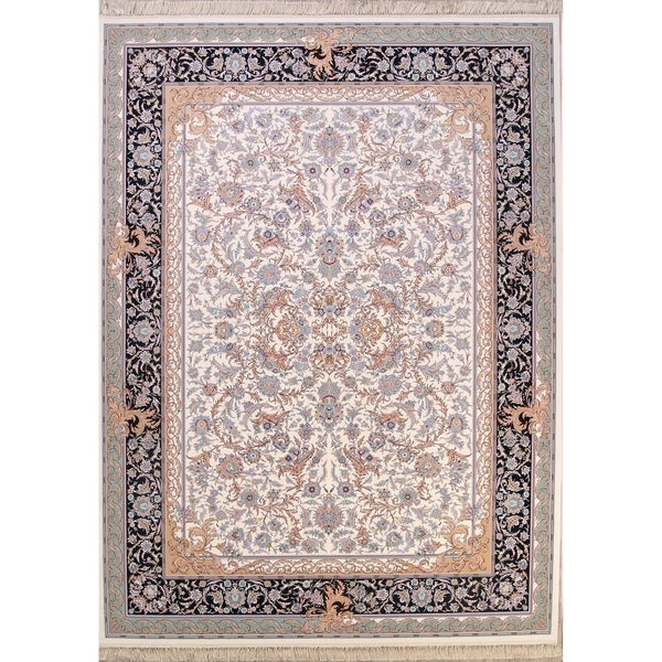"All-Over Floral Tabriz Qum Persian Traditional Area Rug - 13'1"" x 9'8"""