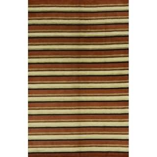 "Modern Gabbeh Handmade Indian Oriental Stripe Area Rug - 9'10"" x 6'5"""