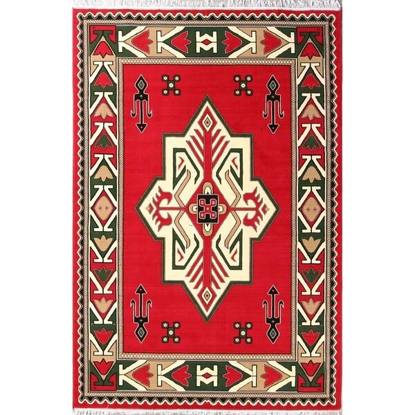 "Soft Plush Kazak Persian Oriental Geometric Area Rug - 9'10"" x 6'7"""
