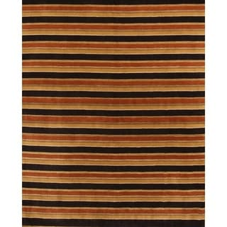 "Gabbeh Hand Knotted Wool Indian Oriental Area Rug Stripe - 9'10"" x 8'1"""