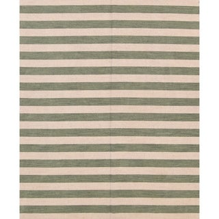 "Modern Stripe Area Rug Gabbeh Oriental Handmade Wool Carpet - 8'4"" x 10'1"""