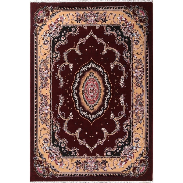 "Soft Plush Floral Tabriz Persian Oriental Area Rug Acrylic Carpet - 9'9"" x 6'9"""
