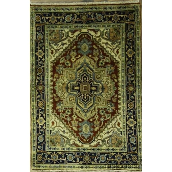 "Heriz Classical Oriental Hand Knotted Woolen Area Rug - 5'11"" x 4'0"""