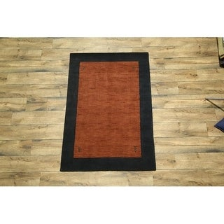 "Modern Gabbeh Indian Oriental Area Handmade Wool Solid Area Rug - 5'8"" x 3'10"""