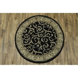 "Gracewood Hollow Emin Knotted Blend Indian Knotted Oushak Floral Indian Oriental Rug - 4'11"" round"