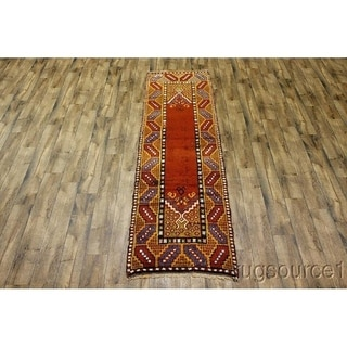 """Antique Moroccan Hand Knotted Oriental Traditional Rug Red - 11'4"""" x 3'1"""" runner"""