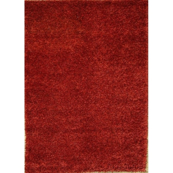 "Porch & Den Beckman Red Hand-made Shaggy Wool Oriental Area Rug - 7'6"" x 5'5"""