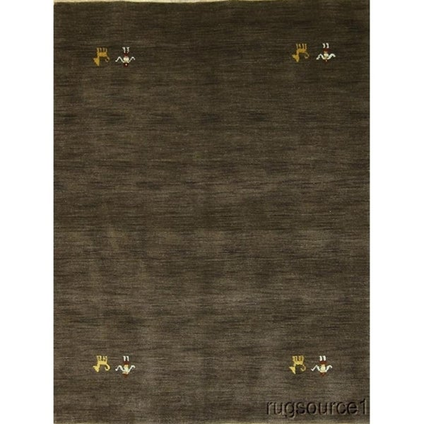 "Gabbeh Hand Knotted Wool Oriental Area Rug Solid Carpet - 6'3"" x 4'9"""