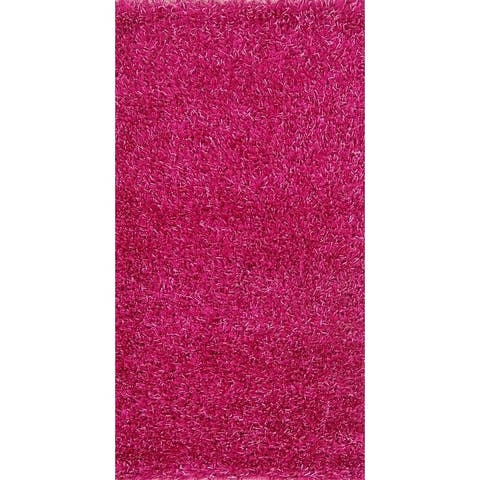 """Porch & Den Beckman Pink Hand-knotted Shaggy Wool Oriental Area Rug - 4'9"""" x 2'6"""""""