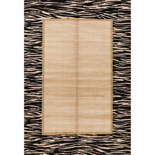"Solid Bordered Belgium Oriental Acrylic and Polyester Area Rug - 5'2"" x 7'3"""