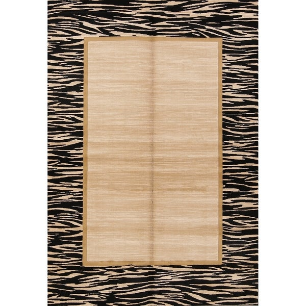 """Solid Bordered Belgium Oriental Acrylic and Polyester Area Rug - 5'2"""" x 7'3"""""""