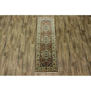 "Hand Made Wool Oriental Heriz Oriental Rug Carpet - 7'11"" x 2'7"" runner"
