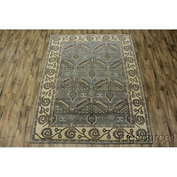 """Kazak Bordered Area Rug Handmade Oriental Wool - 10'0"""" x 7'10"""""""