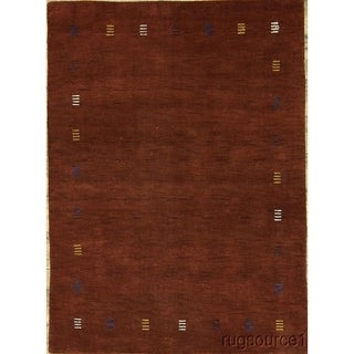 "Gabbeh Oriental Hand Knotted Area Rug Solid Red Carpet - 6'4"" x 4'8"""