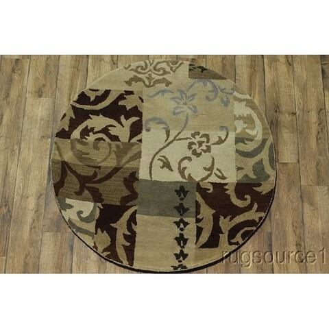 Copper Grove Gram Patchwork Design Oushak Oriental Hand-tufted Beige Area Rug - 5'1 round