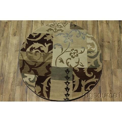 "Copper Grove Gram Patchwork Design Oushak Oriental Hand-tufted Beige Area Rug - 5'1"" round"