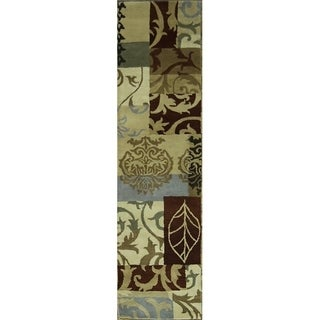 "Copper Grove Kitee Classic Floral Hand-tufted Runner Rug - 9'6"" x 2'7"" runner"