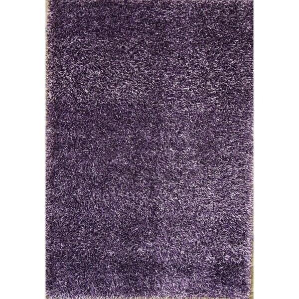 "Porch & Den Chanticleer Purple Solid Oriental Shag Area Rug - 7'7"" x 5'3"""