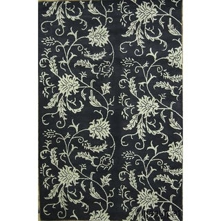 """Transitional Hand Tufted Wool Oushak Agra Oriental Floral Area Rug - 8'2"""" x 5'2"""""""