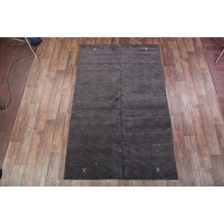 "Handmade Wool Indian Gabbeh Oriental Solid Area Rug - 9'11"" x 6'6"""