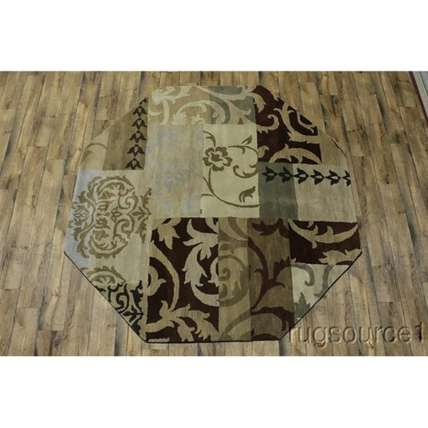Shop Oushak Floral Tufted Wool Persian Oriental Area Rug: Shop Hand Tufted Woolen Agra Oushak Indian Oriental Area