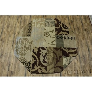 "Copper Grove Vordingborg Hand-tufted Woolen Indian Oriental Area Rug Floral - 8'2"" x 8'2"" octagon"