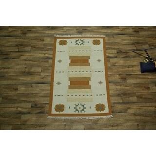 "Copper Grove Hadsund Traditional Oriental Hand Woven Wool Area Rug Beige - 5'10"" x 4'0"""