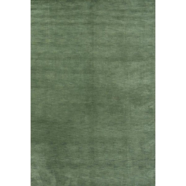 """Strick & Bolton Francesco Green Hand-knotted Wool Area Rug - 9'9"""" x 6'7"""""""