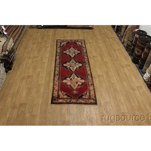 "Anatolian Oriental Turkish Hand Knotted Wool Oriental Rug Red - 10'7"" x 3'8"" runner"