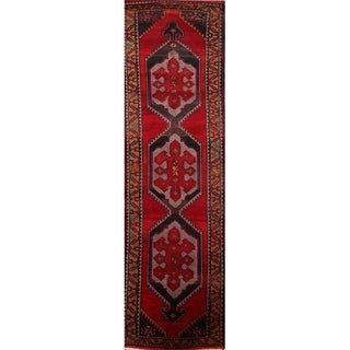 "Kazak Russian Antique Traditional Handmade Rug Red - 12'6"" x 3'7"" runner"