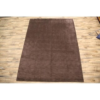 """Porch & Den Brandyshire Brown Solid Color Hand-knotted Wool OrientalArea Rug - 11'3"""" x 8'5"""""""
