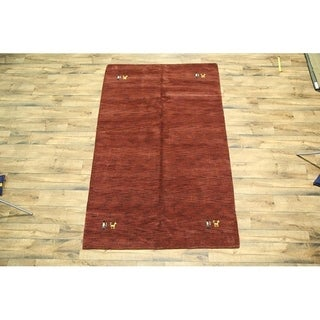 "Red Modern Gabbeh Hand Made Wool Oriental Area Rug Tribal Carpet - 8'9"" x 5'7"""