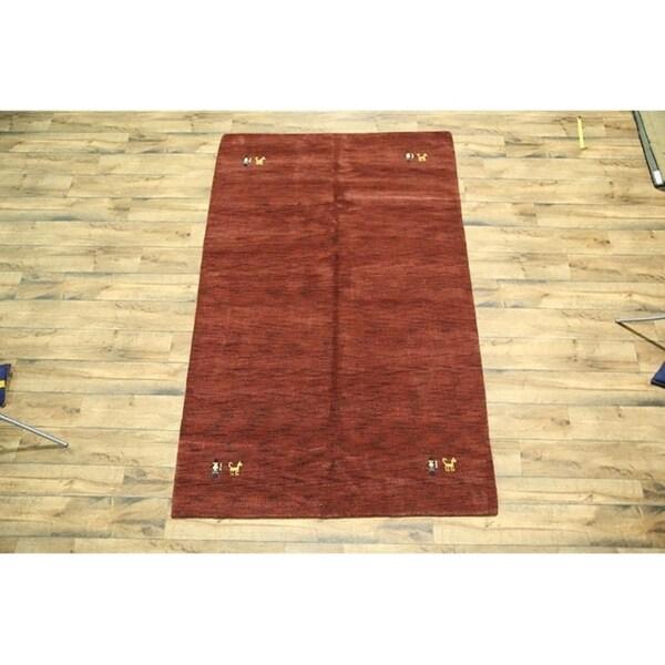 "Red Modern Gabbeh Hand Made Wool Oriental Area Rug Tribal Carpet - 8'9"" x 5'7"""