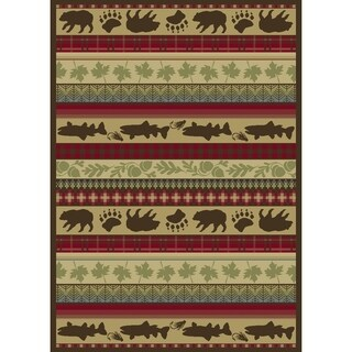 "Animal Pictorial Belgium Oriental Striped Area Rug - 5'2"" x 7'3"""