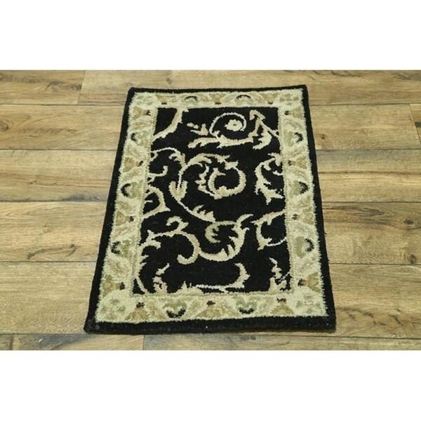 "Gracewood Hollow Karam Tufted Blend Oushak Wool Floral Oushak Indian Rug - 3'0"" x 2'0"""