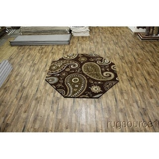 "Copper Grove Politiko Floral Hand Tufted Woolen Oushak Indian Oriental Paisley Area Rug - 8'3"" x 8'4"" octagon"