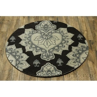 "Gracewood Hollow Kamugasa Hand-tufted Floral Wool Round Rug - 4'11"" round"