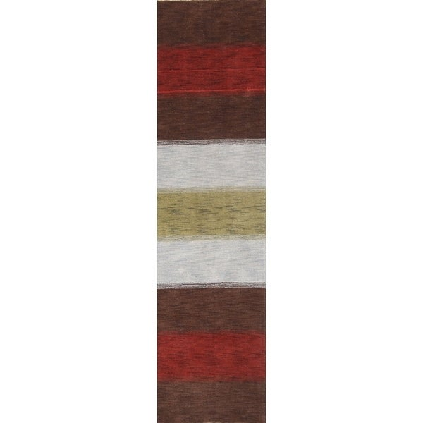 "Porch & Den Brooke Stripe Hand-knotted Wool Oriental Runner Rug - 9'9"" x 2'8"" runner"