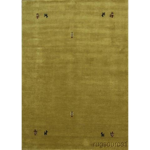 "Porch & Den Spaulding Yellow Hand-made Wool Gabbeh Oriental Area Rug - 8'1"" x 5'9"""