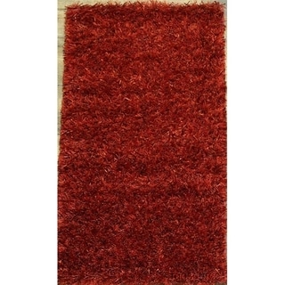 "Porch & Den Beckman Red Hand-made Shaggy Oriental Rug - 3'6"" x 1'10"""