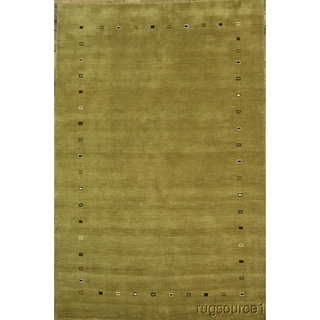 """Porch & Den Blamon Yellow Hand-knotted Wool Oriental Area Rug - 9'11"""" x 6'7"""""""