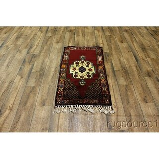 "Traditional Classical Anatolian Hand Knotted Oriental Area RugRed - 4'0"" x 2'2"""