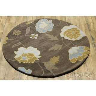"Gracewood Hollow Matthias Hand-tufted Floral Wool Round Rug - 4'10"" round"