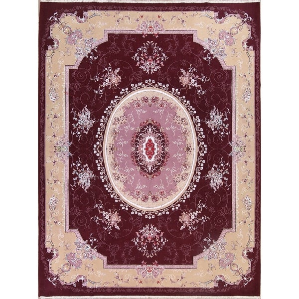 "Soft Plush Floral Tabriz Acrylic and Wool Persian Large Area Rug - 12'10"" x 9'7"""