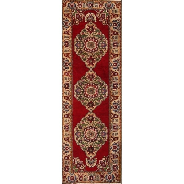 "Anatolian Hand Made Wool Turkish Oriental Rug Oriental Red - 11'1"" x 3'7"" runner"