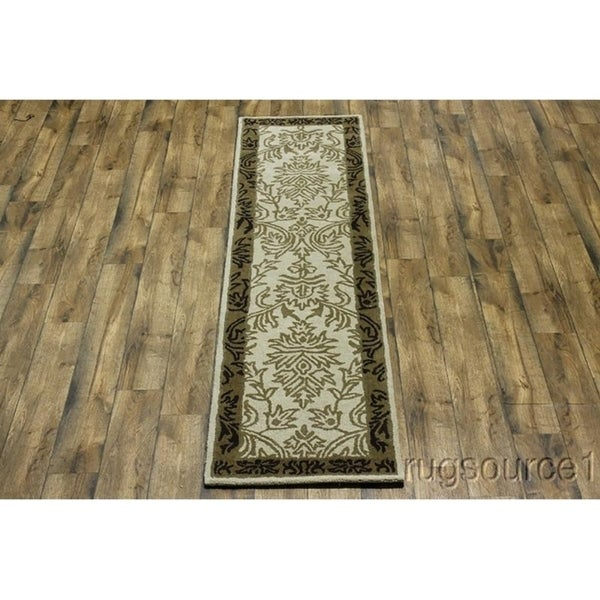 Shop Oushak Floral Tufted Wool Persian Oriental Area Rug: Shop Traditional Hand Tufted Oushak Agra Floral Oriental
