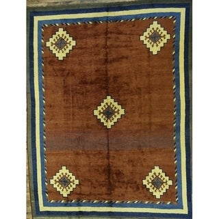 """Oushak Turkish Oriental Hand Knotted Wool Tribal Rug - 11'0"""" x 8'6"""""""