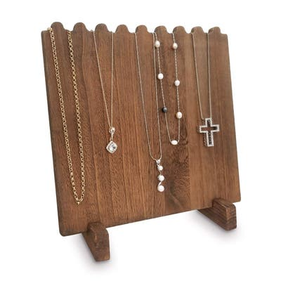 Wooden Plank Necklace Jewelry Display Stand for 8 Necklaces