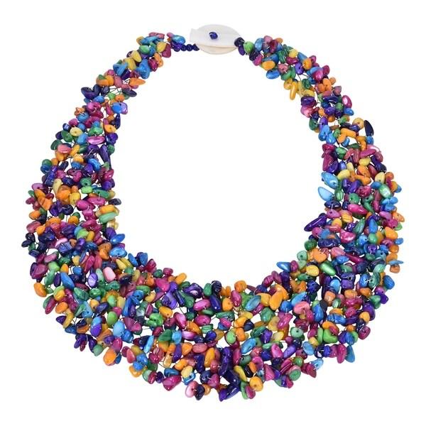 Handmade Stunning Multi-Colored Stone Bead Cluster Bib Statement Necklace (Thailand)